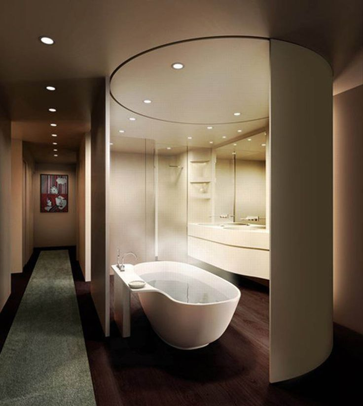 Amazing Circle Bathtub Space Listed In Amazing Contemporary Bathroom Design Ideas