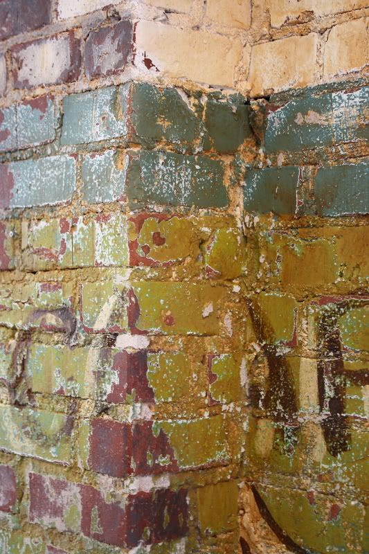 17 best images about painted brick on pinterest painted for Distressed brick wall mural