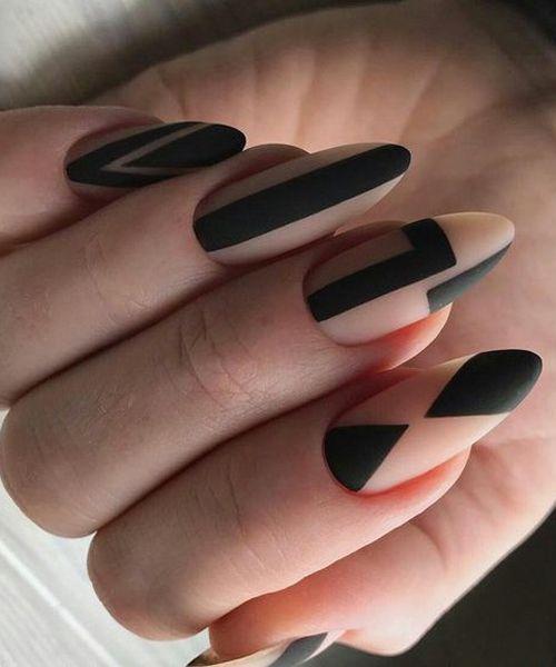 Kreative ovale schwarze geometrische Nagelkunstentwürfe, die elegant schauen – beauty