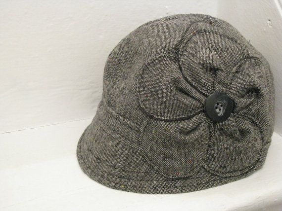 Grey Silver Sparkle Tweed Wool Cloche with Flower by sugarsoul, $75.00