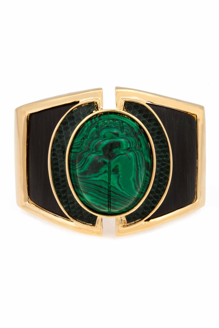 Resin and Scarab Cuff, Gold with Hunter Green Lizard and Malachite