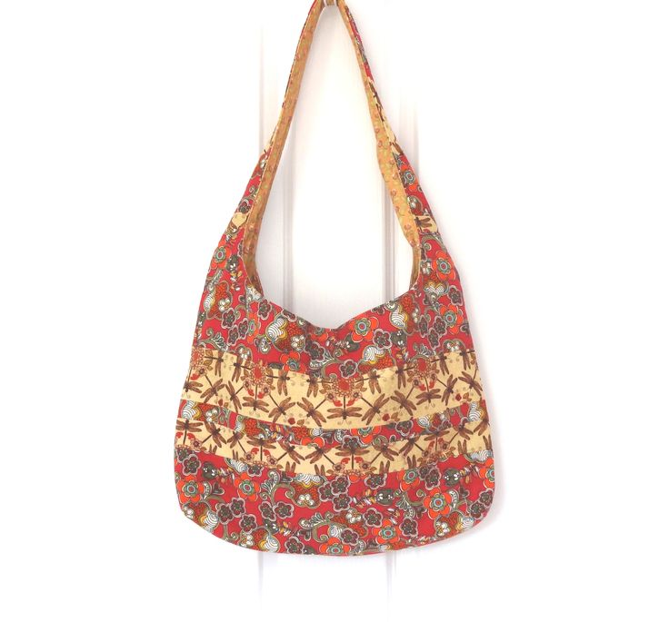 Red and Gold Patchwork Dragonfly Hobo Shoulder Bag