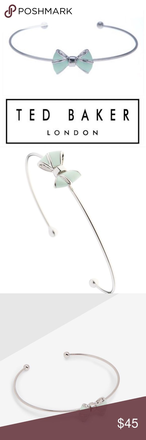 Ted Baker Edene Baby Bow Cuff Bracelet in Mint Styled in mint green enamel and placed on a feminine cuff bracelet, this distinctive finishing touch will stand out when worn with any ensemble. Enamel bow detailing Comes in Ted Baker packaging Mint: white metal, brass and enamel with white bronze plating.  Feminine and elegant while being understated. Goes with another listing w matching earrings and necklace. Brand new, in Ted Baker packaging, giftable condition!  Non-smoking home and…