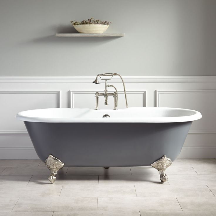 "66""+Sanford+Cast+Iron+Clawfoot+Tub+-+Imperial+Feet+-+Dark+Gray"