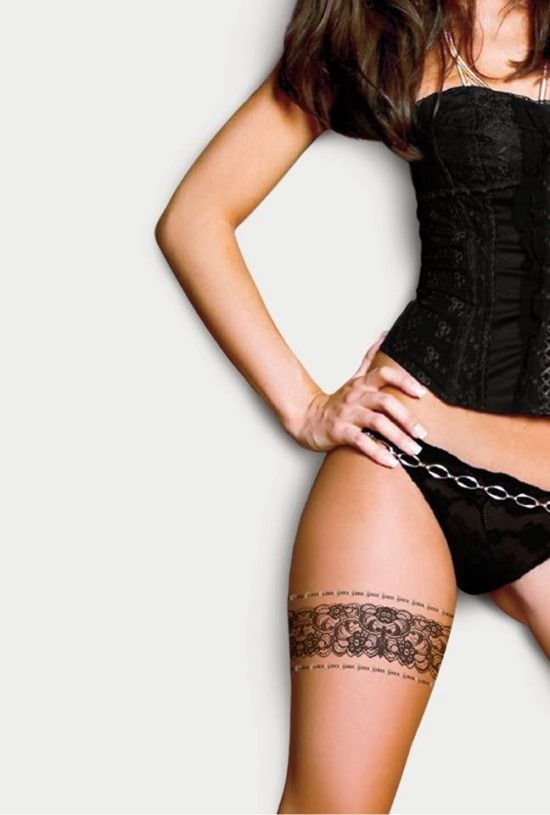 Lace Thigh Tattoo