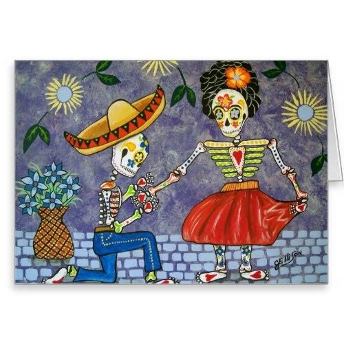 """Day of the Dead The Proposal Wedding Date Notecard Stationery Note Card http://www.zazzle.com/day_of_the_dead_the_proposal_wedding_date_notecard-137328791279368888?rf=238756979555966366&tc=PtMPrssLADayofDead """"The Proposal""""Day of the Dead, Save the Date Wedding Notecard. A great Day of the Dead Mexican Themed Illustration.    and Diego Riveras in this skeleton  illustration with super details and cool artwork!  An original illustration by professional artist Julie Ellison (www.ellison.."""