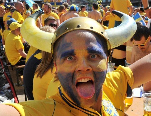 A Swedish fan poses in a fan zone in the central Kiev ahead of the Euro 2012 football championships match Sweden vs Ukraine