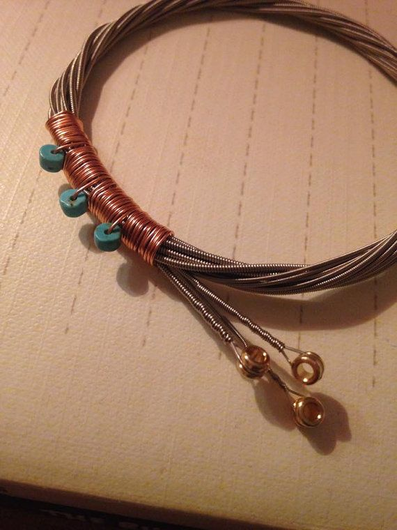 Guitar String Bracelet with Turquoise Stone Beads and Copper Detail #heartSTRINGSjewelry