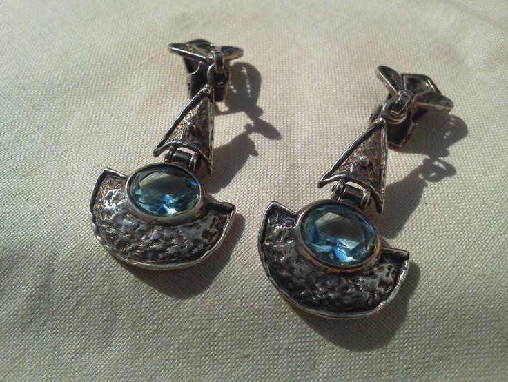 orecchini argento acquamarina vintage di madreperls su Etsy