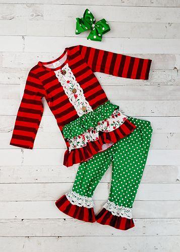 e025a520c63f The Hair Bow Company | Poinsettias and Lace Striped Ruffled Tunic & Pants  Set