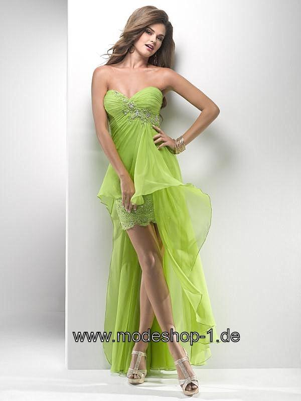 Grünes Vokuhila Kleid Vorne Kurz Hinten Lang in 32 34 36 38 40 42 44 46 48 50 52 54 56 58 60 62 64    XS S M L XL XXL XXXL XXXXL XXXXXL oder Kostenlose Maßanfertigung.  von www.modeshop-1.de