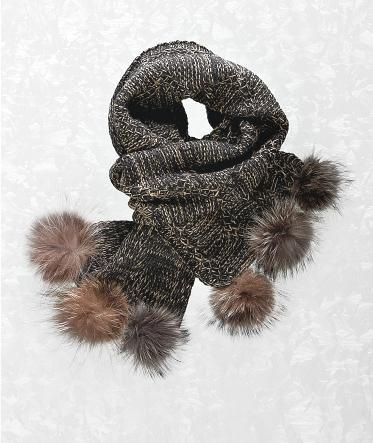 Kakortok foulard - Beige/Brun - Pompons de chat sauvage - Harricana