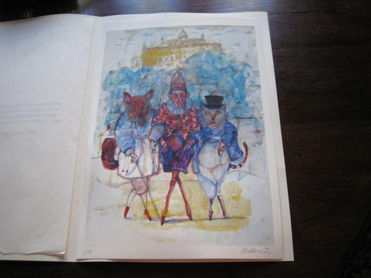 """""""Pinocchio con il gatto e la volpe"""" disegno del pittore lucchese Antonio Possenti (http://it.wikipedia.org/wiki/Antonio_Possenti)."""
