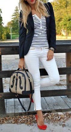 Business casual work outfit: Striped henley, navy blazer, skinnies  red heels. I'd go with different colored skinnies.