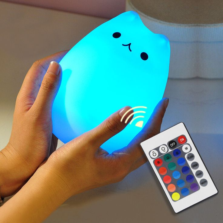 Remote Bedside Lamp Cat Color Light Changing Silicone Cat Night Lights 2 Modes Children Cute Night Lamp Bedroom Kid Light 2017 #Affiliate