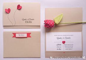 Convite de casamento com corações feitos em dobradura - AboutLove