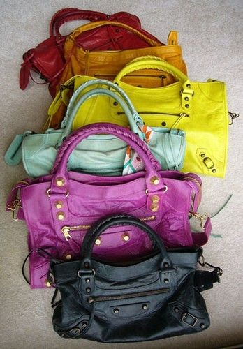 balenciaga bags in rainbow colors! one day i will own this classy bag.