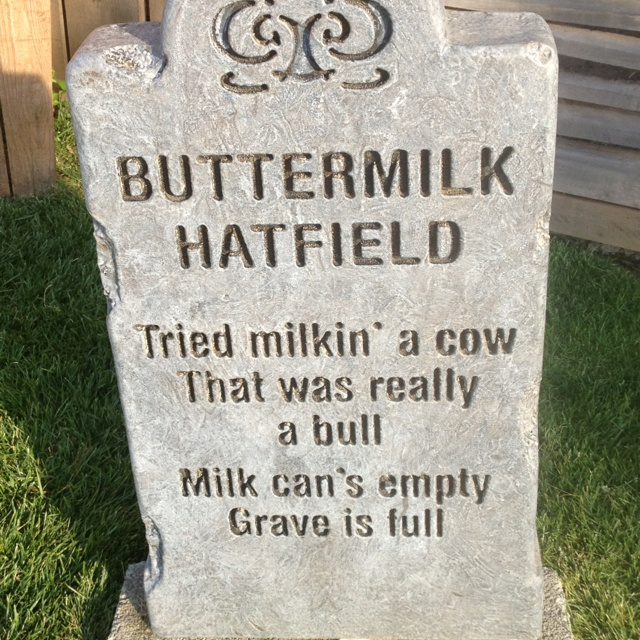 Faux headstone outside of the Hatfield and McCoy Dinner Theater in Pigeon Forge.