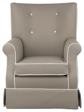 Gus Glider, Taupe Faux Leather, Soft White Piping - transitional - Rocking Chairs - Oilo