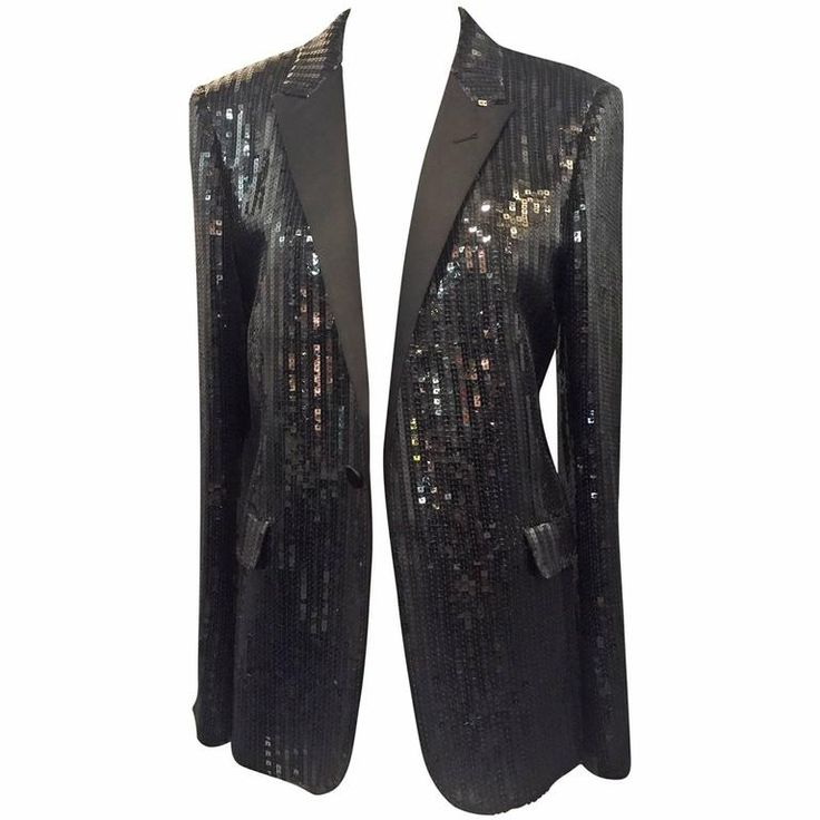 Saint Laurent Black Sequin Tuxedo Jacket with Satin Lapels | From a collection of rare vintage jackets at https://www.1stdibs.com/fashion/clothing/jackets/