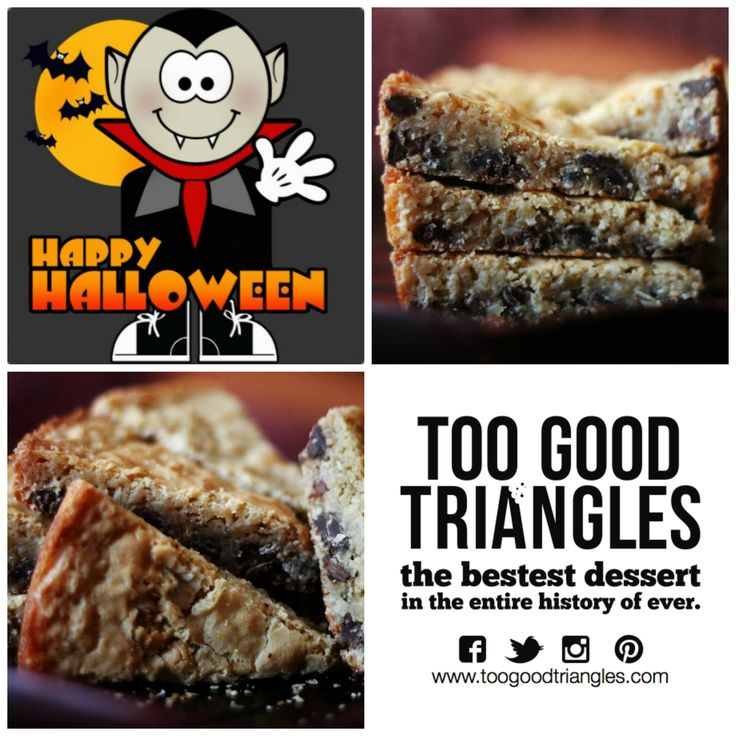TGT HALLOWEEN CONTEST * Contest closes at 4pm and runs on FB, IG, Pinterest & Twitter. ONE #free batch of #Classic TGT, #GlutenFree TGT OR #Vegan/#GF TGT is up for grabs. How to enter: Repin this photo with #iloveTGT and a silly #Halloween joke and then stay tuned to see if you won! Winner will be announced today (Thursday) by 4:30pm. Good luck, #sweetlings! www.toogoodtriangles.com #tgt #toogoodtriangles #contest #dessert