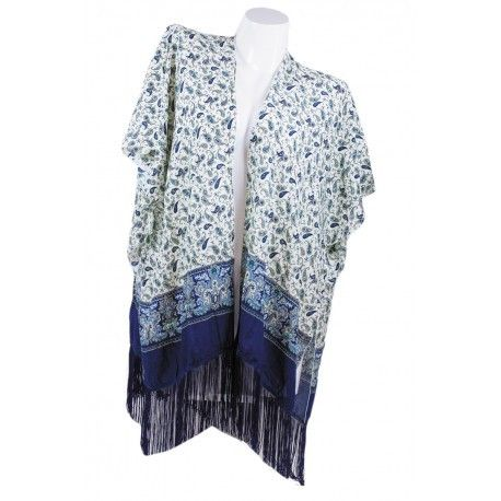 Navy Paisley Open Caftan Cover UP