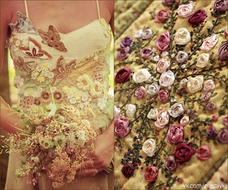 """""""Девушка без капризов - как цветок без запаха""""  #pv_citaty #вышивка #вышивание #рукоделие #цитаты #подборки #красота #мода #женщина #цветы #платье #ленты #розы #букет #нежность"""