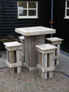 Rustic Wooden Table And Chairs For The Outdoor Bar/patio Photo Gallery