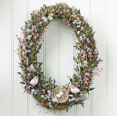 Easter Wreath in an Oval shape instead of the traditional round shapes. Sweet