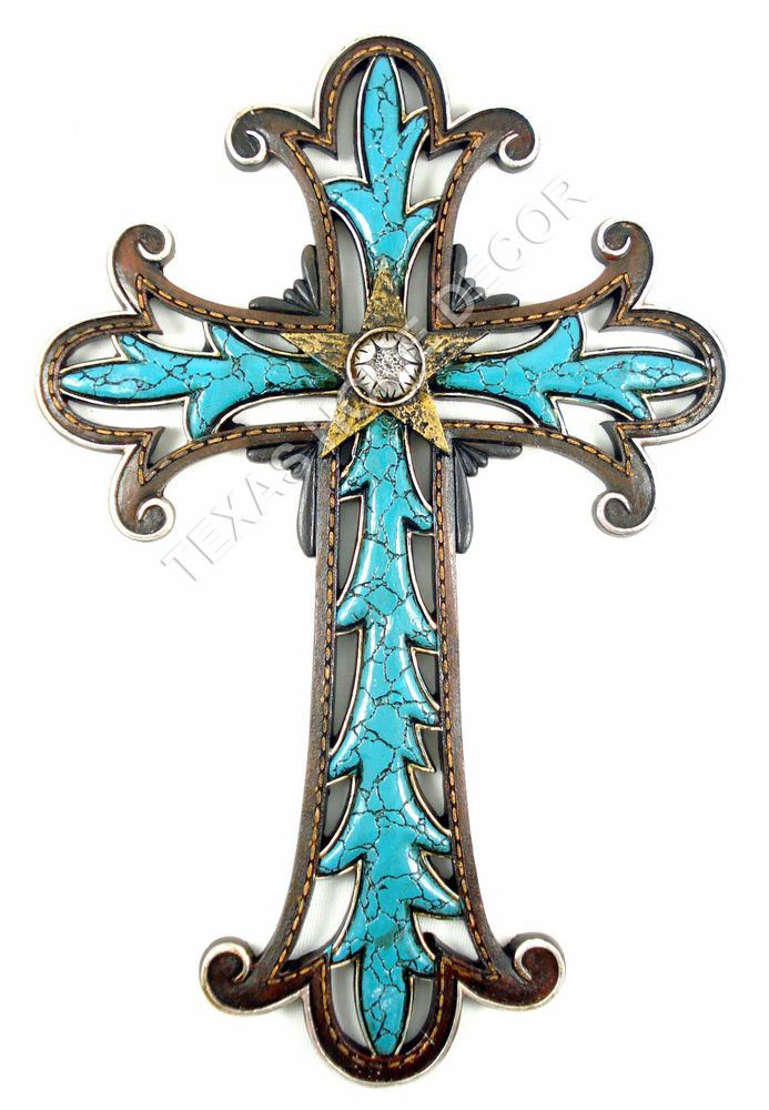 Western Turquoise Decorative Wall Cross Golden Star Fleur De Lis Rustic 13x9 In