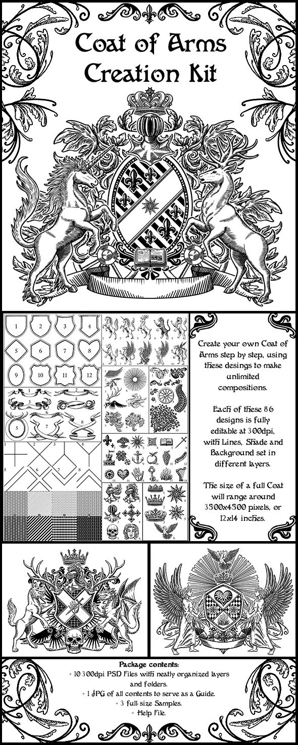 Coat of arms creation kit for people to play and make for Make your own coat of arms template