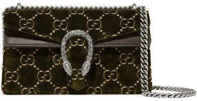 Dionysus Leather-trimmed Embossed Velvet Shoulder Bag - Army green Gucci x563R3ko