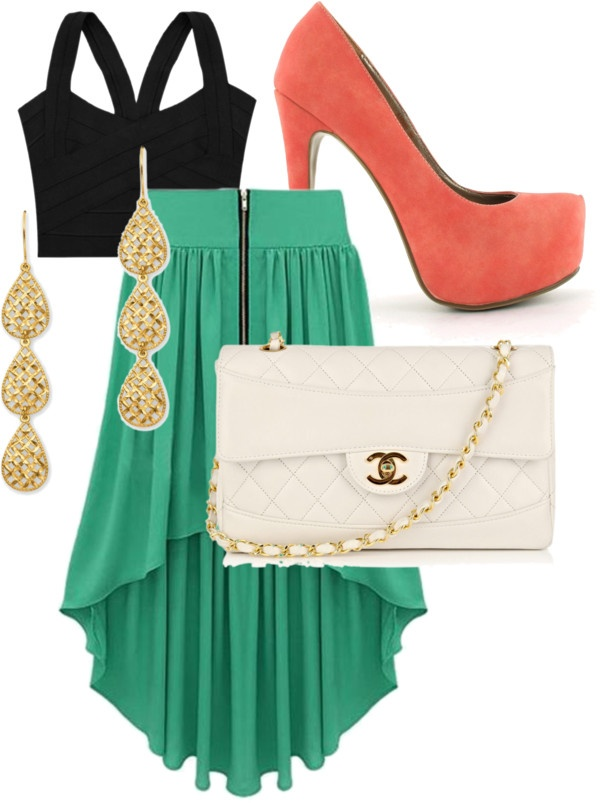 I frickin LOVEE THISSS: Outfit Idea, Color Combos, Crop Tops, High Low Skirts, Highlow, Night Outfit, Cute Outfit, Friday Night, Maxis Skirts