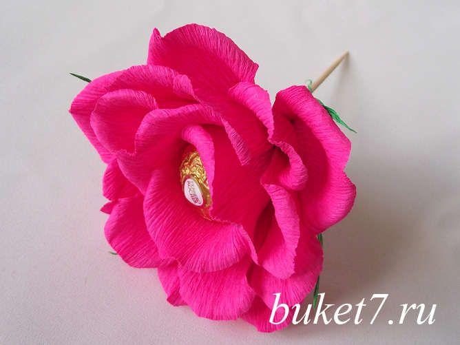 Объемная роза из конфет ферреро роше (Ferrero Rocher) МК фото 27