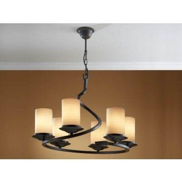Lámpara Techo Rústica Crisol 6 luces #Ambar #Muebles #Deco #Interiorismo #Iluminacion | http://www.ambar-muebles.com/lampara-techo-seis-luces-crisol.html