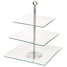 Cristal Para Servir Comida Pantalla Soporte De Tarta - 3 Niveles Cuadrados