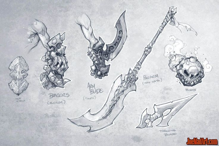Darksiders game weapons concept art