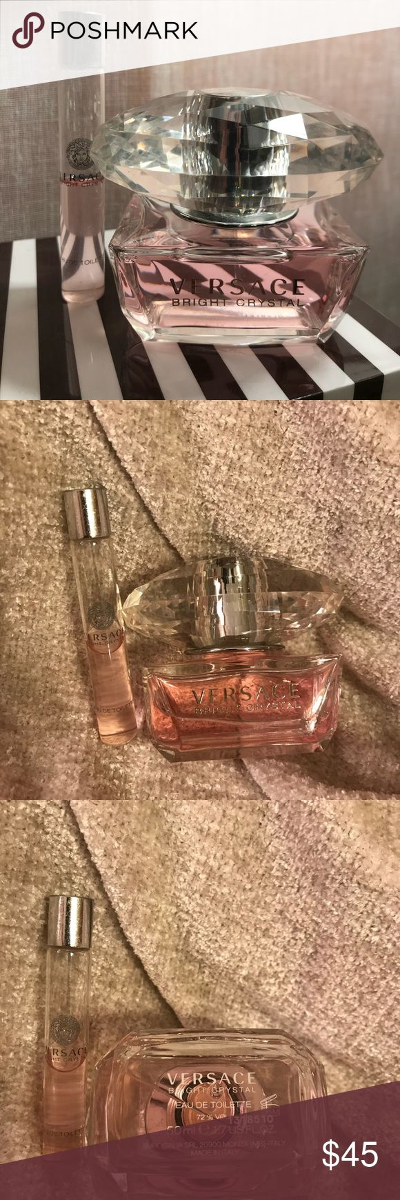 Versace Bright Crystal pink perfume 50ml Versace Bright Crystal (pink) perfume.  Large 50ml bottle and 10 ml roller ball travel size are Eau De Toilette.  If I used this perfume I may have sprayed it twice.  The roller ball perfume is half full 🌓. Versace Other