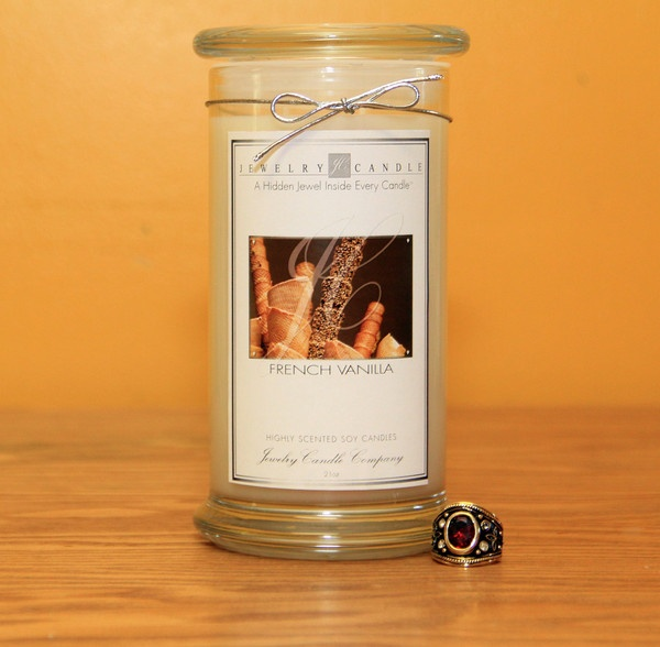 Yummy French Vanilla by JewelryCandles.com ! The scent is a creamy and sugary vanilla aroma. All our candles are made of 100% soy wax and burn very clean. Within each of our candles is a hidden jewel valued anywhere from $10 to upwards of $7500 !