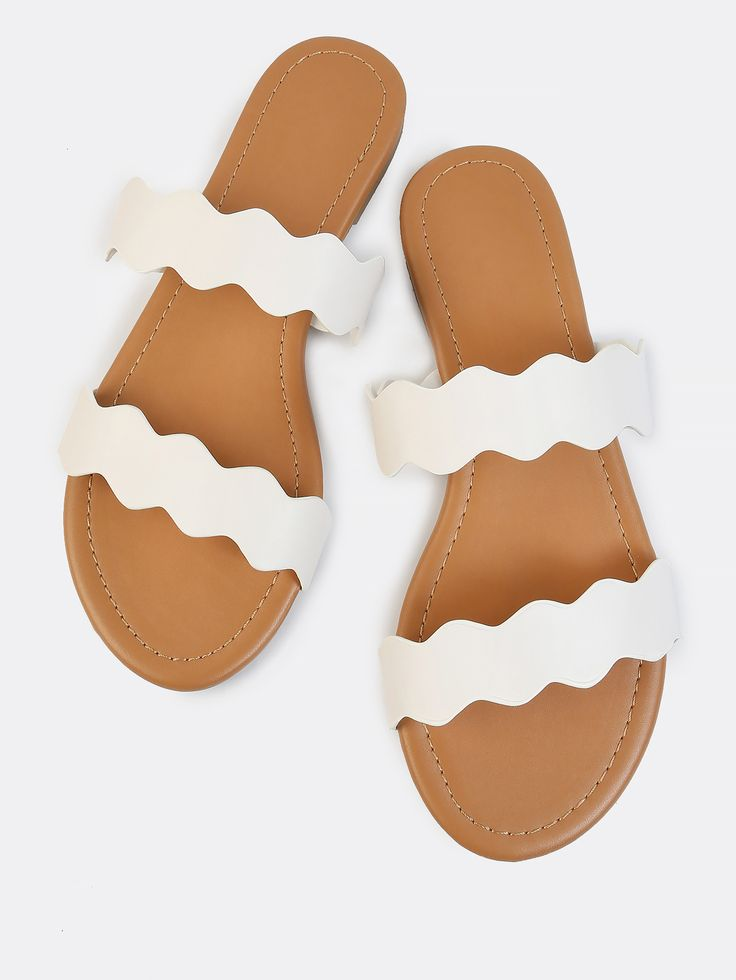 Shop Double Strap Squiggle Slides IVORY online. SheIn offers Double Strap Squiggle Slides IVORY & more to fit your fashionable needs.