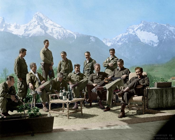 """Easy Company, 2nd Battalion of the 506th Parachute Infantry Regiment of the 101st Airborne Division, the """"Screaming Eagles""""   Drinking Hitlers wine at his Eagles Nest retreat.  Colourised by Paul Reynolds."""