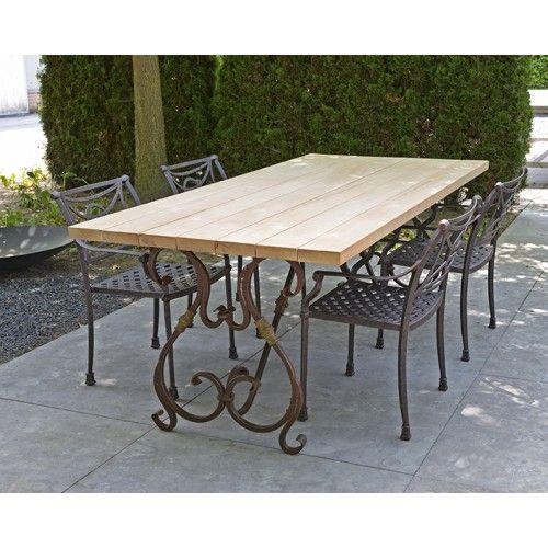 Hardhouten tuintafel met smeedijzeren onderstel Cannes + aluminium stoelen Casablanca Antique