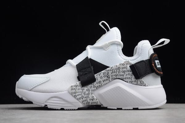 "2c53d14b2e67 Nike Air Huarache City Low PRM ""Just Do It"" White Black-Total Orange AO3140- 100"