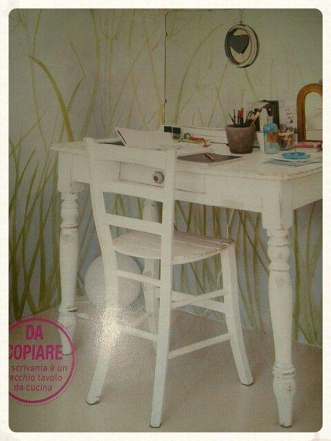 Vecchio tavolino da cucina come scrivania o postazione trucco Da Casafacile