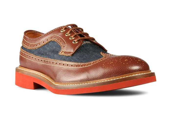 Dsquared2 Mens Leather-Denim Full Brogues Wingtips Shoes ...