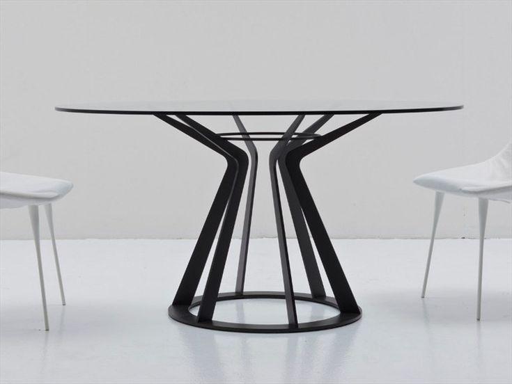 Mesa redonda de cristal MITOS by Nube Italia | design Giuliano Cappelletti