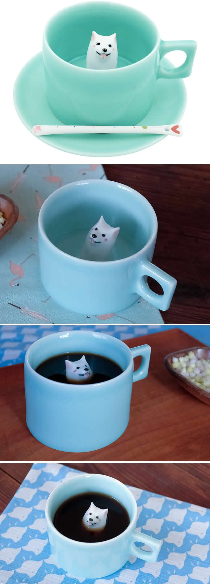 Dog Figurine Ceramic Coffee Cup(Samoyed )