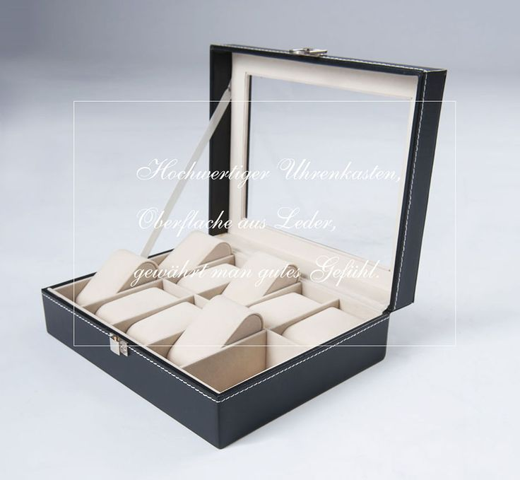 znl uhrenkoffer uhrenkasten uhrenbox uhrenschatulle f r 10 uhren schwarz ksb02 neue artikel. Black Bedroom Furniture Sets. Home Design Ideas