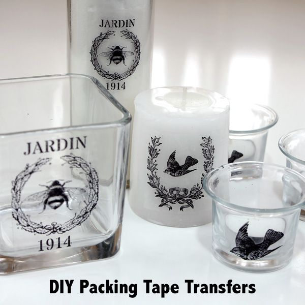 This is a super fun and easy transfer technique using packing tape! DIY Packing Tape Transfers are great for transferring images or photos onto glassware!