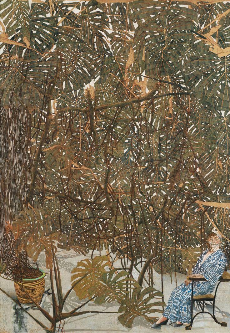 "thunderstruck9: ""Sam Szafran (French, b. 1934), Lilette en kimono bleu dans l'atelier [Lilette in a blue kimono in the studio], 2012. Watercolour and pastel on silk, 145 x 94 cm. """